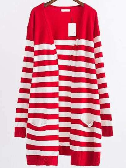 Red Striped Ribbed Trim Open Front Long Cardigan
