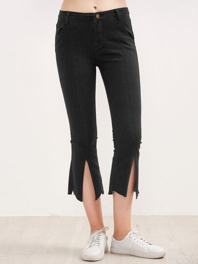 Black Split Front Raw Hem Flare Jeans
