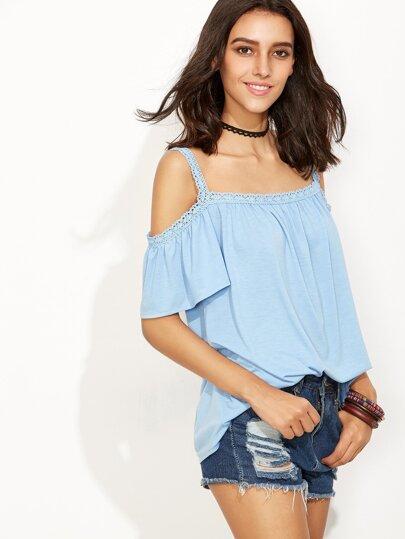 Blue Cold Shoulder Crochet Trim Top
