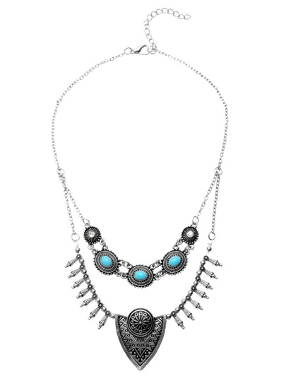 Antique Silver Double Chain Carved Turquoise Statement Necklace