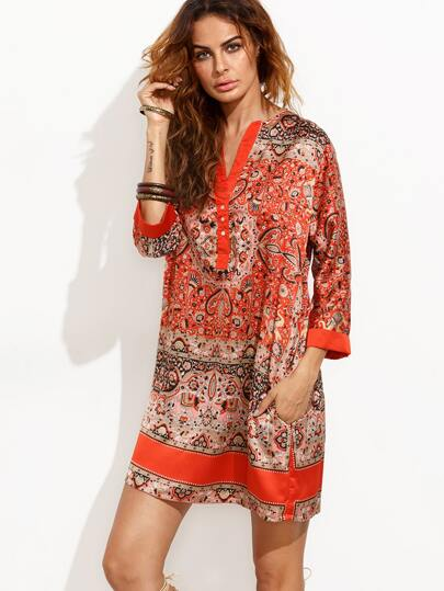 Contrast V Neck Vintage Print Tunic Dress