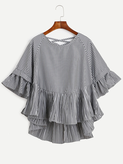 Black Vertical Striped Lattice-Back Ruffle High Low Top