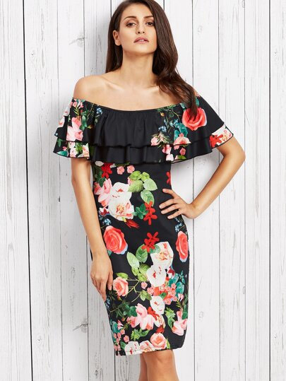 Black Rose Print Ruffle Off The Shoulder Sheath Dress