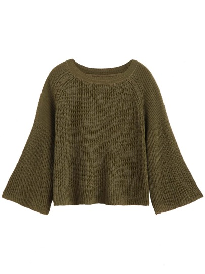Army Green Ribbed Sweater