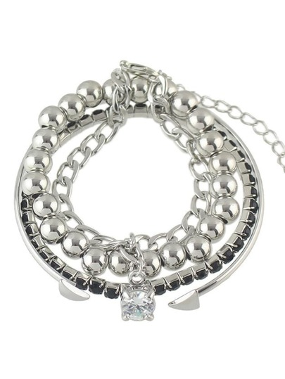 Silver Color Adjustable Beads Chain Cuff Bracelet Set For Women