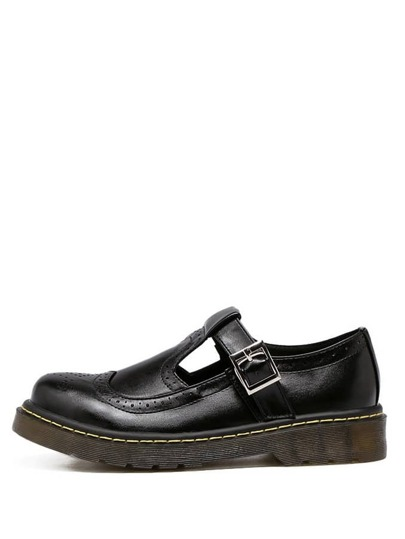 Chaussures plates rétro bout rond avec boucle - noir