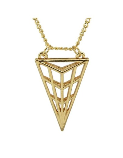Gold Triangle Pendant Long Necklace