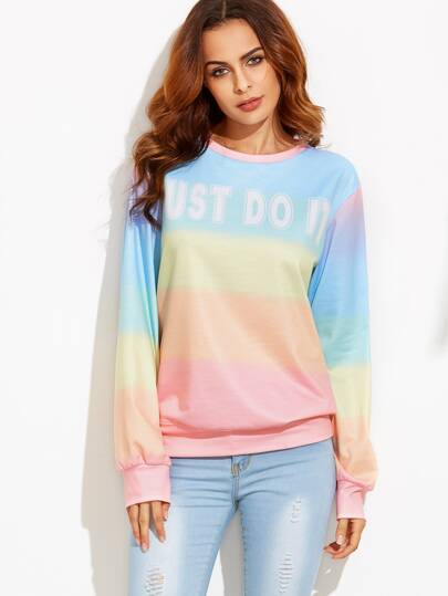 Color Block Letters Print Sweatshirt