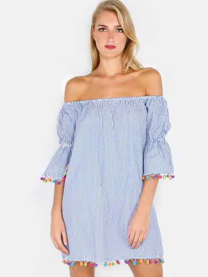 Striped Off The Shoulder Pom Pom Dress BLUE