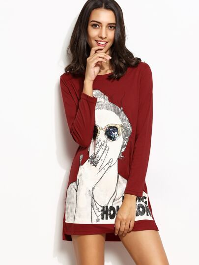 Burgundy Girl Print Slit Side High Low Sequin Tee Dress