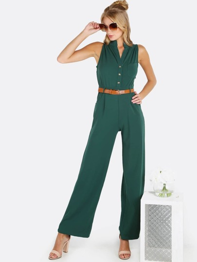Sleeveless Button Up Belted Jumpsuit HUNTER GREEN