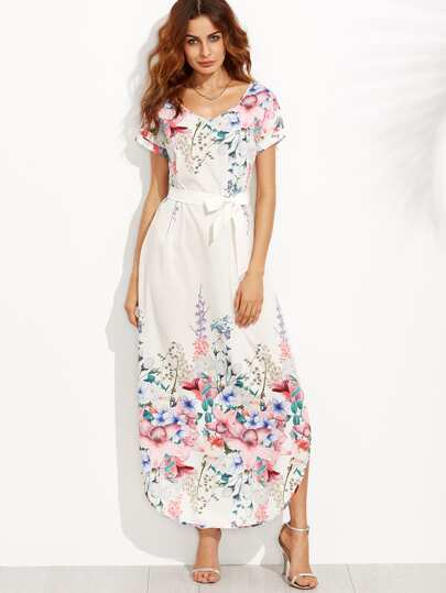 White Flower Print Belted Side Slit Dress