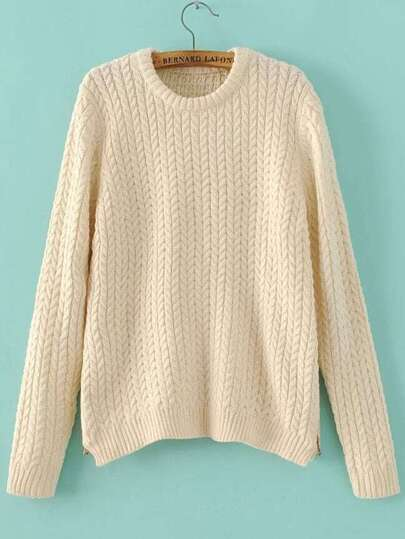 Beige Round Neck Side Zipper Cable Knit Sweater