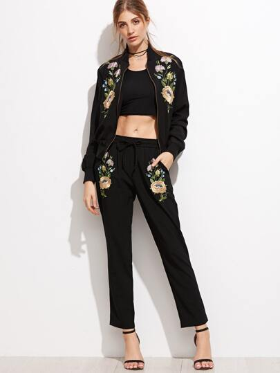Black Flower Embroidery Drawstring Pants