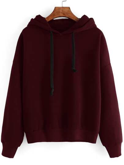 Contrast Drawstring Drop Shoulder Hooded Sweatshirt