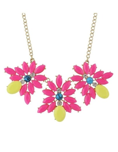 Hotpink Gemstone Statement Flower Necklace