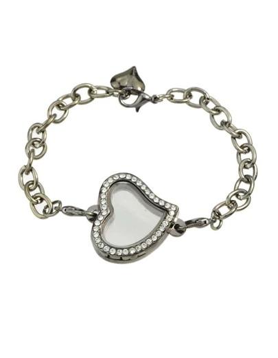 Black Chain Bracelet With Stone Heart