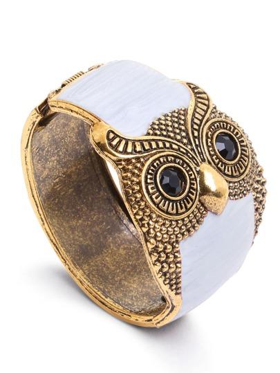 White Enamel Bronze Metal Retro Owl Wide Bangle