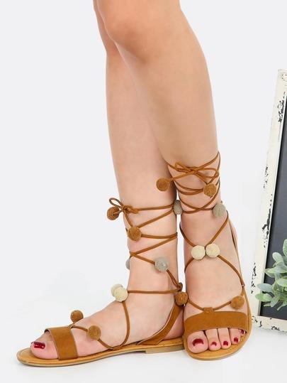Ombre Pom Pom Lace Up Sandals COGNAC