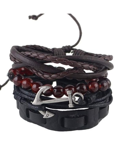Multilayers Beads Chain PU Leather Wrap Bracelet Set