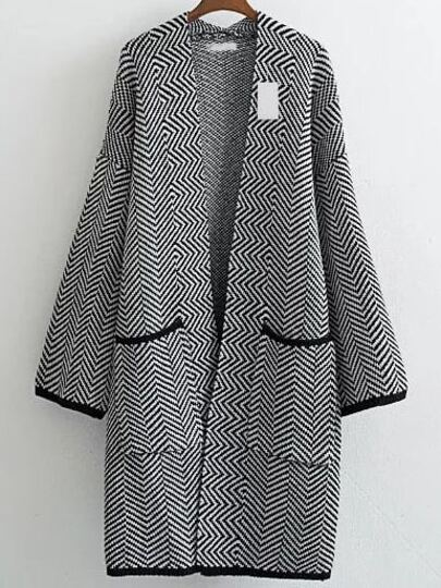 Black Wave Patterned Collarless Drop Shoulder Long Pocket Cardigan