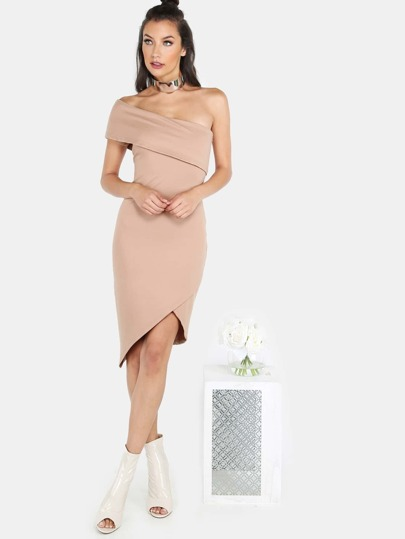 One Shoulder Asymmetric Midi Dress TAN
