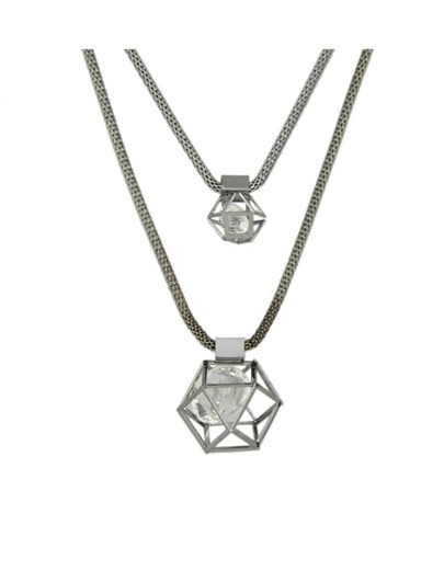 Multilayer Chain Crystal Pendant Necklace