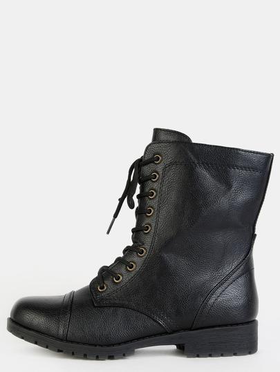 Round Toe Classic Combat Boots BLACK