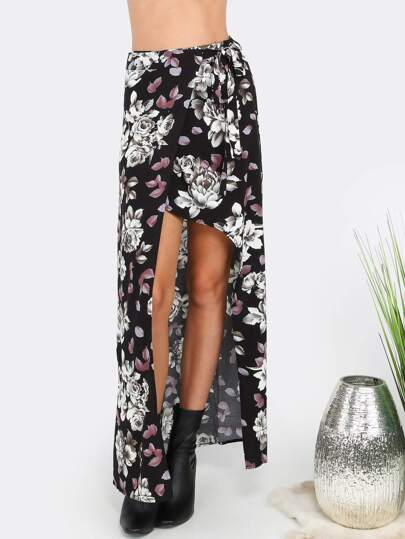 Floral High Slit Wrap Skirt BLACK