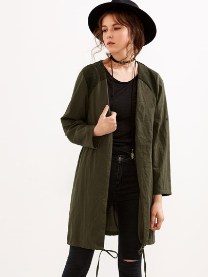 Army Green Quilted Shoulder Patch Drawstring Coat