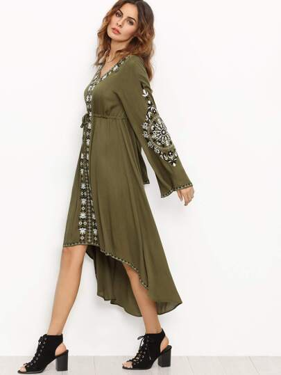 Army Green Bell Sleeve Tribal Print Dress
