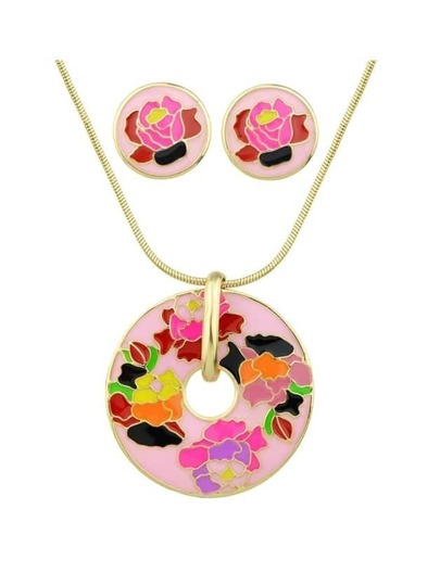 Pink Flower Print Round Pendant Necklace Earrings Set