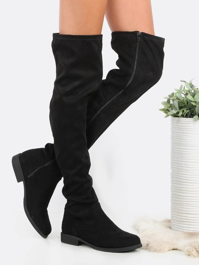 Round Toe Faux Suede Flat Thigh Boots BLACK