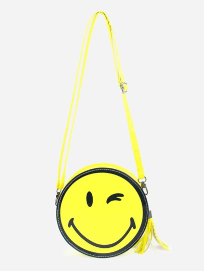 Yellow Smiling Face Print Tassel Trim Round Crossbody Bag