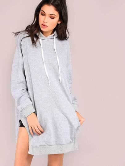 Slit Hooded Pocket Front Dropped Shoulders Sweatshirt