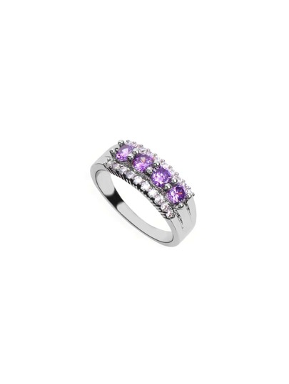 Silver Plated Purple Rhinestone Ring
