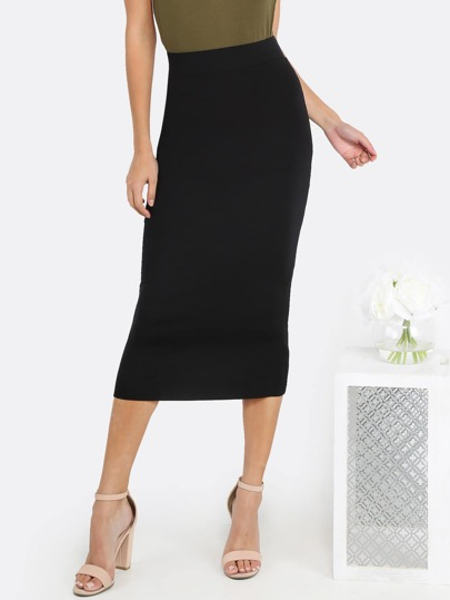 High Waisted Pencil Midi Skirt BLACK