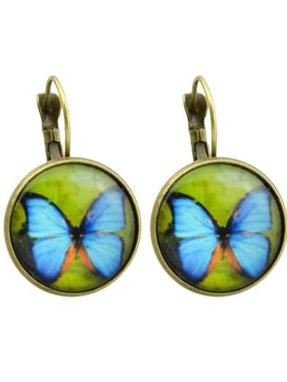 Bronze Imitation Gemstone Butterfly Shape Round Earrings