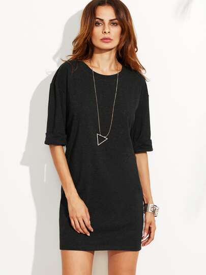 Heather Grey Drop Shoulder Roll Sleeve Tee Dress