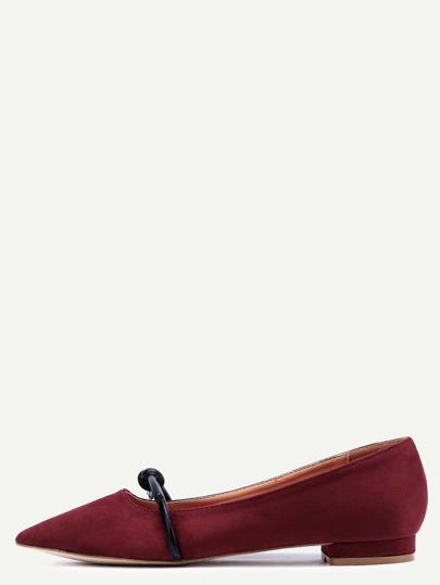 Chaussures Mary Jane en suédine bout pointu - rouge bordeaux