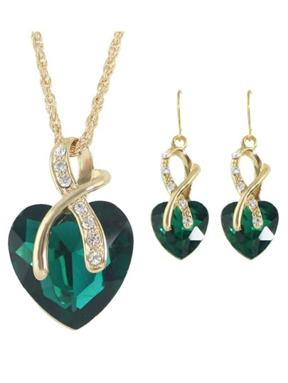 Green New Colorful Rhinestone Heart Shape Pendant Necklace Earrings Set