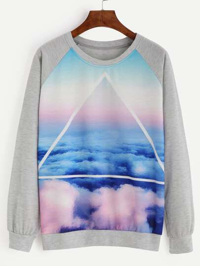 Heather Grey Cloud Sky Print Raglan Sleeve Sweatshirt