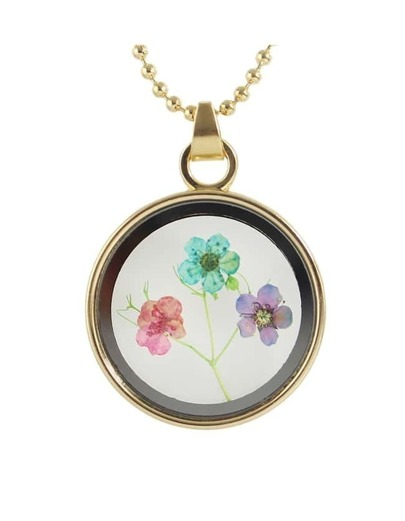 Flower Printed Round Pendant Necklace