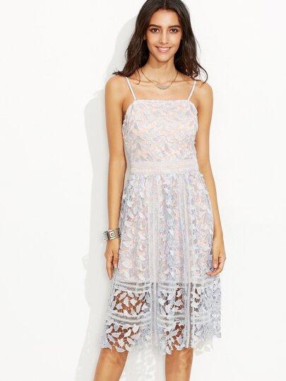 Light Blue Spaghetti Strap Lace Zipper Back Dress