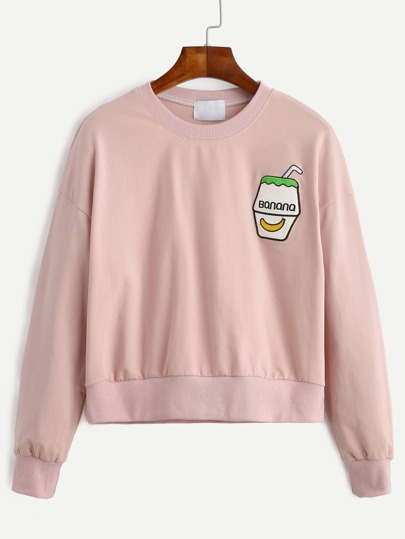 Pink Drop Shoulder Embroidered Sweatshirt
