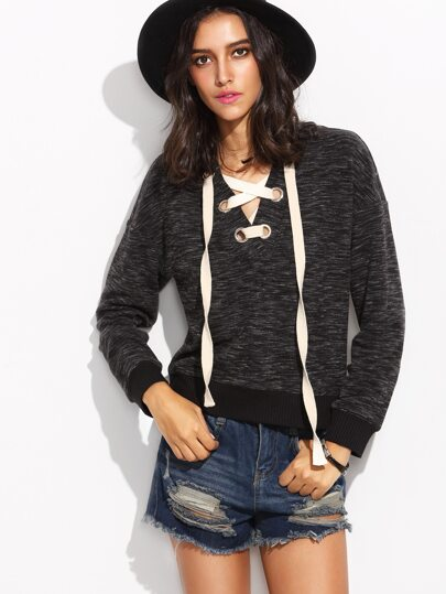 Black Eyelet Lace Up Drop Shoulder Marled Sweatshirt