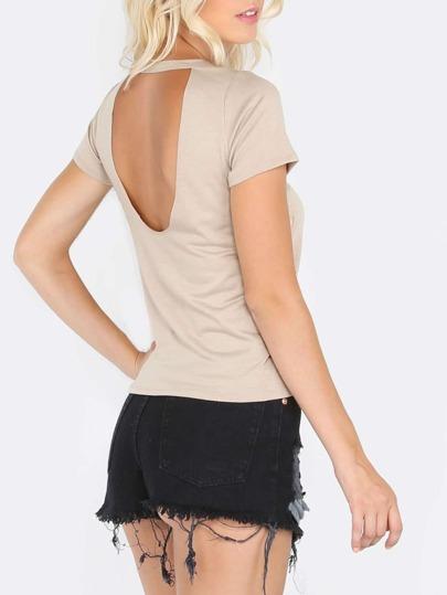 Khaki Short Sleeve Distressed Backless T-shirt