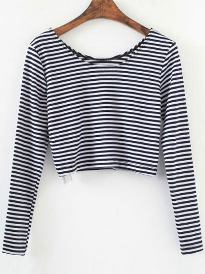 Black Striped Long Sleeve Crop T-Shirt