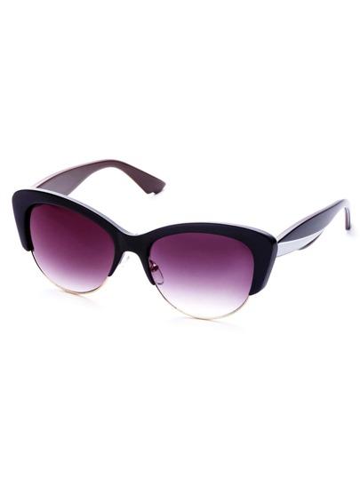 Black Frame White Trim Semi Rimless Cat Eye Sunglasses