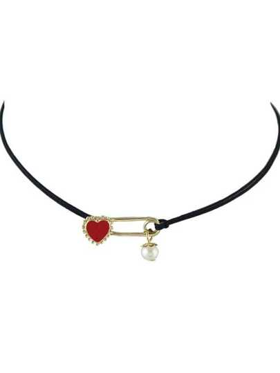 Imitation Pearl Enamel Heart Shape Adjustable Braided Rope Chain Necklace